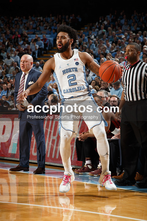CHAPEL HILL, NC - JANUARY 26: Joel Berry II #2 of the North Carolina Tar Heels dribbles the ball against the Virginia Tech Hokies on January 26, 2017 at the Dean Smith Center in Chapel Hill, North Carolina. North Carolina won 91-72. (Photo by Peyton Williams/UNC/Getty Images) *** Local Caption *** Joel Berry II