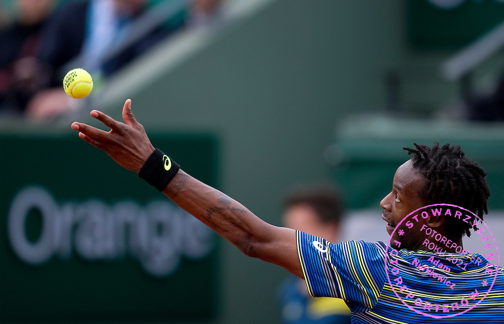 Gael Monfils of France competes in men's singles while Day Sixth during The French Open 2013 at Roland Garros Tennis Club in Paris, France.<br /> <br /> France, Paris, May 31, 2013<br /> <br /> Picture also available in RAW (NEF) or TIFF format on special request.<br /> <br /> For editorial use only. Any commercial or promotional use requires permission.<br /> <br /> Mandatory credit:<br /> Photo by &copy; Adam Nurkiewicz / Mediasport