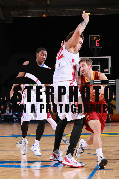 Canton Charge Guard MICHAEL STOCKTON (6) runs past  Delaware 87ers Guard JUWAN STATEN (7) and Delaware 87ers Center JORDAN RAILEY (32) in the second half of a NBA D-league regular season basketball game between the Delaware 87ers and the Canton Charge Tuesday, JAN, 26, 2016 at The Bob Carpenter Sports Convocation Center in Newark, DEL.