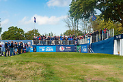 General view of the 1st Tee during the British Masters 2018 at Walton Heath Golf Course, Walton On the Hill, Surrey  on 11 October 2018. Picture by Martin Cole.