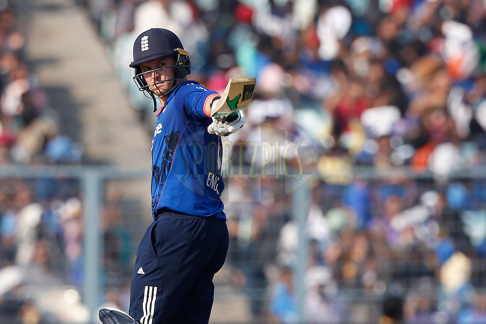 Jason Roy of England raises his bat after scoring 50 runs during the third One Day International (ODI) between India and England  held at Eden Gardens in Kolkata on the 22nd January 2017<br /> <br /> Photo by: Deepak Malik/ BCCI/ SPORTZPICS