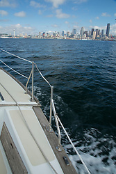 United States, Washington, Seattle. View of downtown Seattle from sailboat in Puget Sound.