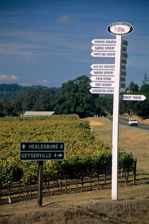 Road sign to vineyards in the Alexander Valley, Sonoma County, California