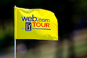 A pin flag with the Web.com Tour and PGA logos is seen waving in the wind during the 2012 Price Cutter Charity Championship at Highland Springs Country Club on August 10, 2012 in Springfield, Missouri. (David Welker/www.TurfImages.com).
