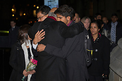 © licensed to London News Pictures. London, UK 10/12/2012. Family of Nurse Jacintha Saldanha hugging Labour MP Keith Vaz as they come to the Houses of Parliament on 10/12/12. Photo credit: Tolga Akmen/LNP