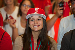 CHARLOTTE, USA - Friday, August 1, 2014: Liverpool supporter during an event at the Whisky River bar on day twelve of the club's USA Tour. (Pic by David Rawcliffe/Propaganda)
