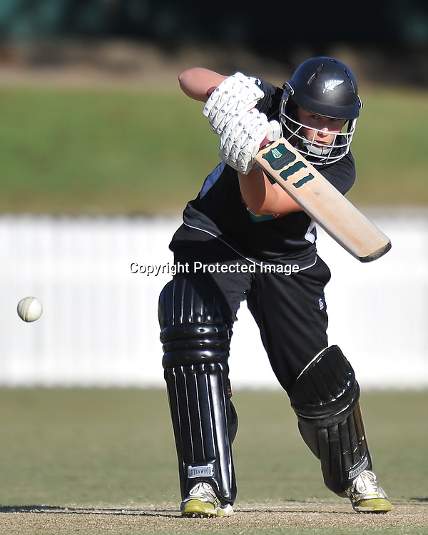 Aimee Watkins watches the ball ~ Game 7 (ODI) of the Rose Bowl Trophy Cricket played between Australia and New Zealand at Alan Border Field in Brisbane (Australia) ~ Thursday 16th June 2011 ~ Photo : Steven Hight (AURA Images) / Photosport