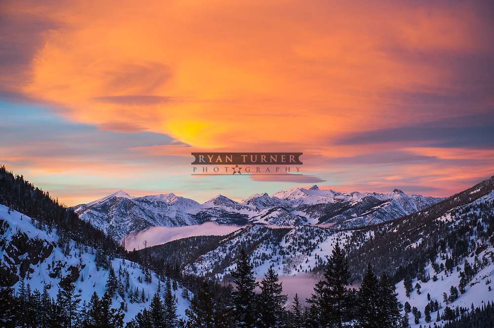Montana sunset high in the mountains during the winter.  Limited Edition - 75