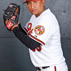 February 26, 2011; Sarasota, FL, USA; Baltimore Orioles pitcher Raul Rivero (65) poses during photo day at Ed Smith Stadium.  Mandatory Credit: Derick E. Hingle
