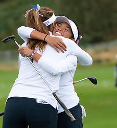 Auchterarder, Scotland, UK. 10 September 2019. Day one of the Junior Solheim Cup 2019 at the Centenary Course at Gleneagles. Tuesday Morning Foursomes. Pictured Brianna Navarrosa (r) and Briana Chacon of USA celebrate winning by 1 hole on the 18th green.Iain Masterton/Alamy Live News