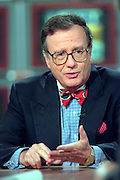 Political humorist Mark Russell discusses the presidential race during NBC's ''Meet the Press'' September 5, 1999 in Washington, DC.