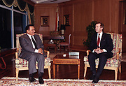 Secretary of Defense William Cohen (right) meets with Egyptian President Hosni Mubarak at Sharm Al Shiek, Egypt, on Nov. 5, 1998. Cohen wanted to discuss with Mubarak the planned military action to be taken by the United States and Great Britain against Iraq if Saddam Hussein continued to thwart weapons inspections by the United Nations Special Commission. Egypt was one of eleven nations Cohen visited with his message during an intense four-day tour of Europe and the Middle East