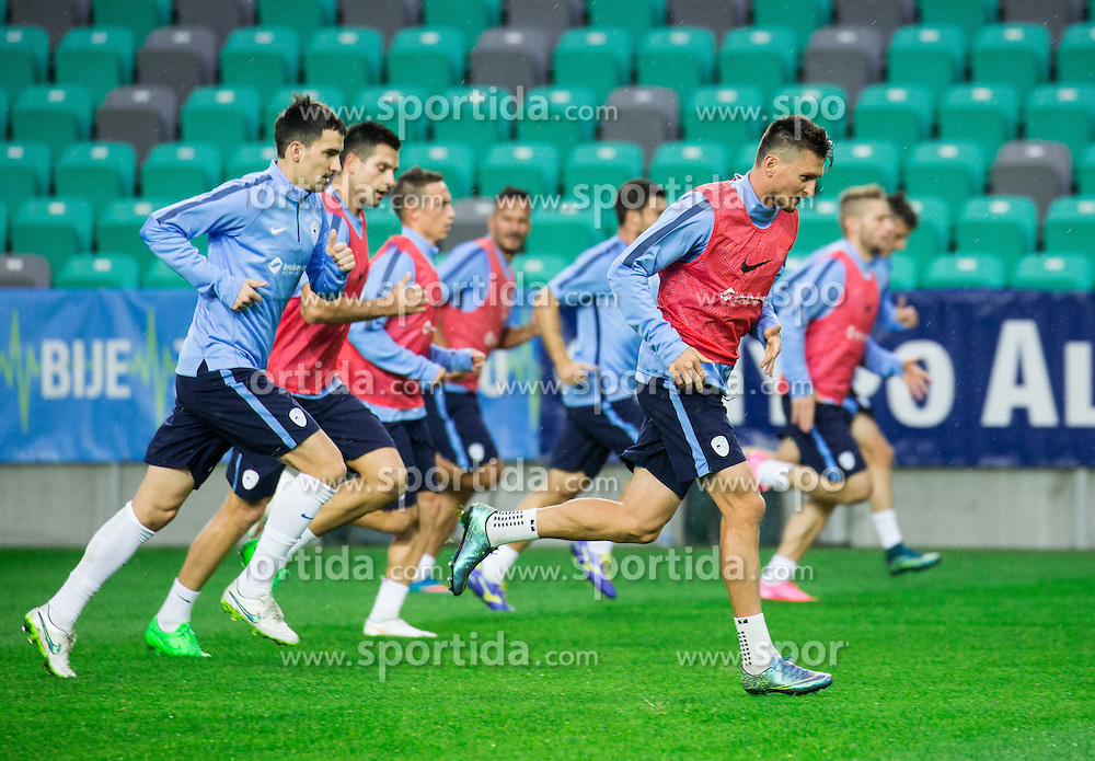 Branko Ilic, Andraz Kirm during practice session of Slovenian National Football team two days before Euro 2016 Qualifying game between Slovenia and Lithuania, on October 7, 2015 in SRC Stozice, Ljubljana Slovenia. Photo by Vid Ponikvar / Sportida