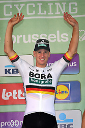 September 1, 2018 - Brussels, BELGIUM - German Pascal Ackermann of Bora-Hansgrohe celebrates on the podium after winning the 'Brussels Cycling Classic' cycling race, 201,4 km from and to Brussels, Saturday 01 September 2018. BELGA PHOTO DAVID STOCKMAN (Credit Image: © David Stockman/Belga via ZUMA Press)