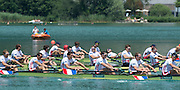 Aiguebelette, FRANCE  Bronze medallist, GBR M8+ left to right, Scott DURANT  Alan SINCLAIR, Nathaniel REILLY-O'DONNELL, Matt LANGRIDE, Peter REED and James FOAD at the 2014 FISA World Cup II. 14:23:49  Sunday  22/06/2014. [Mandatory Credit; Peter Spurrier/Intersport-images]