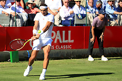 Rafael Nadal in action during day one of the Aspall Classic at the Hurlingham Club, London.