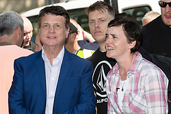 "© Licensed to London News Pictures . 06/05/2018. London, UK. UKIP leader GERARD BATTEN and ANNE MARIE WATERS at the demonstration outside Downing Street on Whitehall . Supporters of alt-right and anti-Islam groups, including Generation Identity and the Democratic Football Lads Alliance, demonstrate at Whitehall in Westminster, opposed by anti-fascists. Speakers billed in the ""Day for Freedom"" include former EDL leader Tommy Robinson, Milo Yiannopoulos, youtuber Count Dankula (Markus Meechan), For Britain leader Anne Marie Waters, UKIP leader Gerard Batten, Breitbart's Raheem Kassam and Lauren Southern. The event was originally planned as a march to Twitter's HQ in protest at their banning of Robinson and the Home Office's ban on Martin Sellner and Brittany Pettibone entering the UK, in what protesters describe as limits being imposed on free speech. Photo credit: Joel Goodman/LNP"
