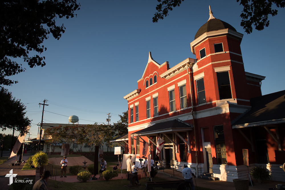 Sunset falls on the Old Depot Museum in Selma, Ala., as filming of 'The First Rosa' documentary wraps for the day on Wednesday, Sept. 24, 2014. LCMS Communications/Erik M. Lunsford
