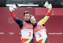 14.02.2018, Olympic Sliding Centre, Pyeongchang, KOR, PyeongChang 2018, Rodeln, Zweisitzer, Herren, im Bild Tobias Wendl und Tobias Arlt (GER, 1. Platz) // gold medalist and Olympic champion Tobias Wendl and Tobias Arlt of Germany during the mens doubles luge of the Pyeongchang 2018 Winter Olympic Games at the Olympic Sliding Centre in Pyeongchang, South Korea on 2018/02/14. EXPA Pictures © 2018, PhotoCredit: EXPA/ Johann Groder