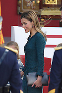 Queen Letizia of Spain attended the Military Parade during the Spanish National Day on October 12, 2014 in Madrid, Spain