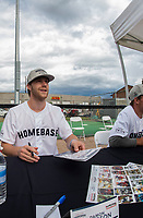 KELOWNA, CANADA - JUNE 28: Former Kelowna Rocket and current NHL New Jersey Devils player Damon Severson signs autographs prior to the opening charity game of the Home Base Slo-Pitch Tournament fundraiser for the Kelowna General Hospital Foundation JoeAnna's House on June 28, 2019 at Elk's Stadium in Kelowna, British Columbia, Canada.  (Photo by Marissa Baecker/Shoot the Breeze)