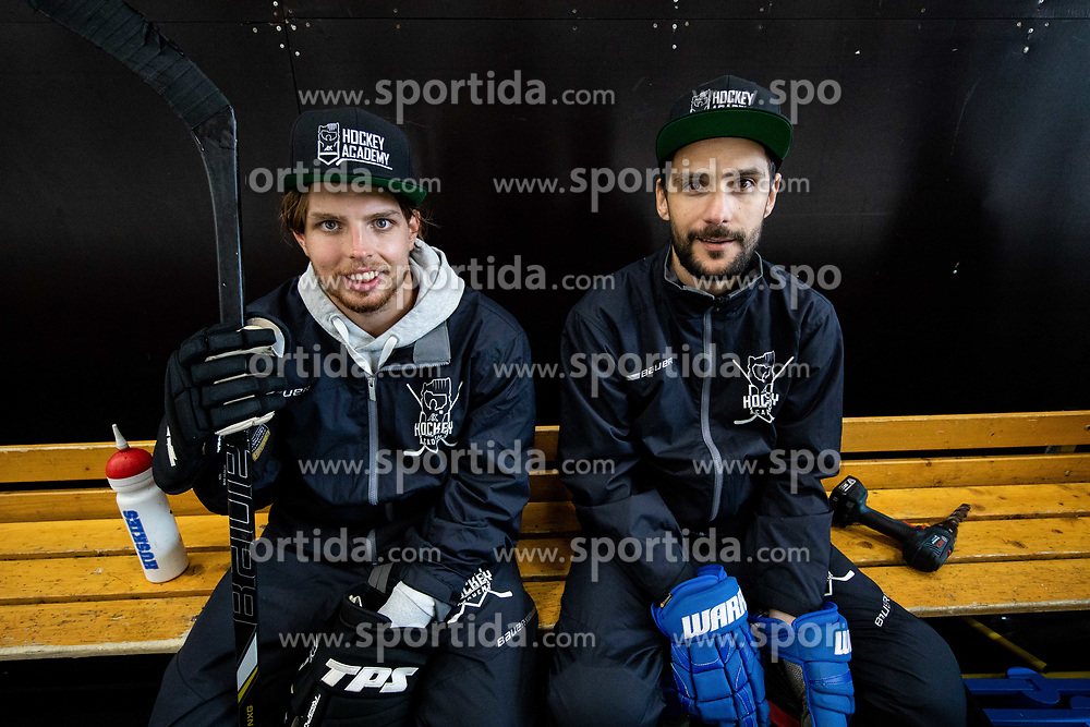 Luka Gracnar and ... during practice at Hockey Academy of Anze Kopitar and Tomaz Razingar, on July 9, 2019 in Ice Hockey arena Bled, Slovenia. Photo by Vid Ponikvar / Sportida