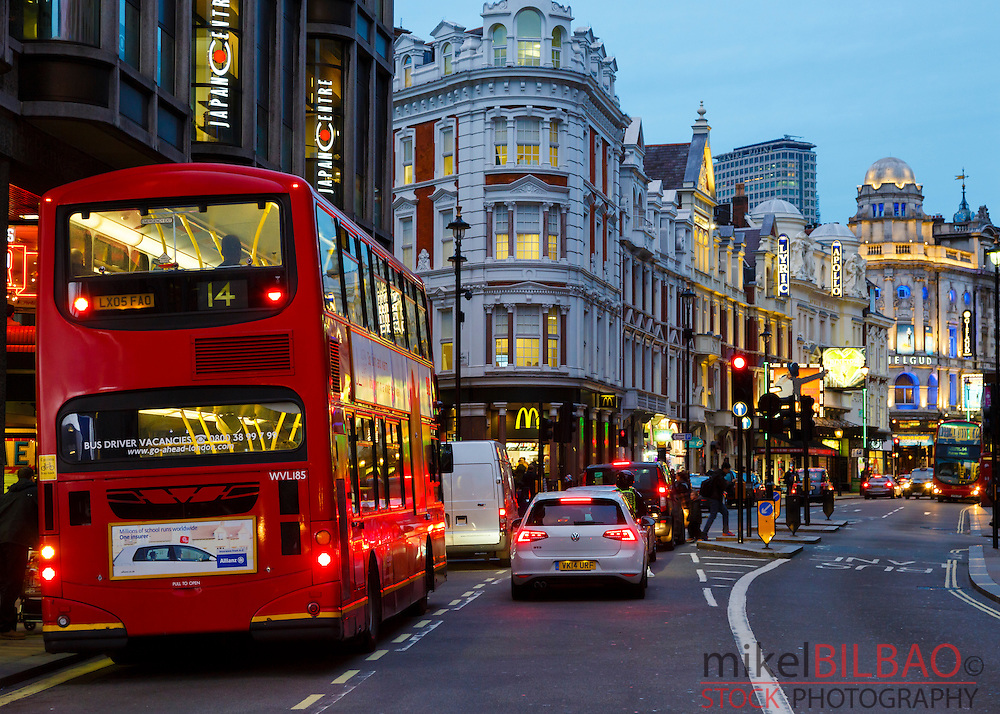 Traditional red bus and street. London, England, United kingdom, Europe.