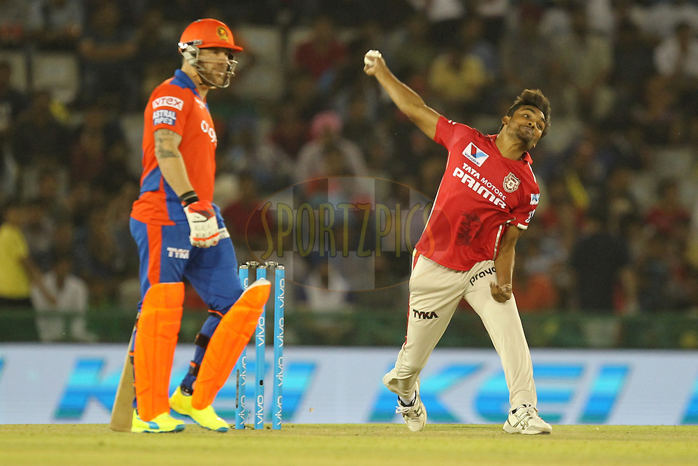 Sandeep Sharma of Kings XI Punjab bowls during match 3 of the Vivo Indian Premier League ( IPL ) 2016 between the Kings XI Punjab and the Gujarat Lions held at the IS Bindra Stadium, Mohali, India on the 11th April 2016Photo by Prashant Bhoot/ IPL/ SPORTZPICS