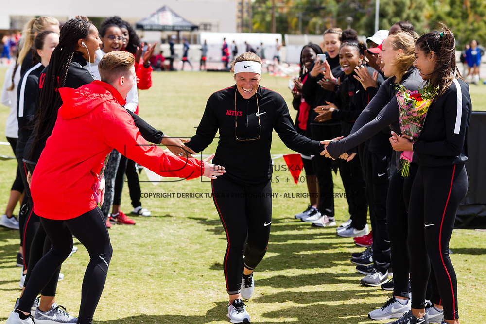 23 March 2018: The San Diego State women's Track &amp; Field team competes in the final day of the 43rd annual Aztec Invitational.<br /> More game action at sdsuaztecphotos.com
