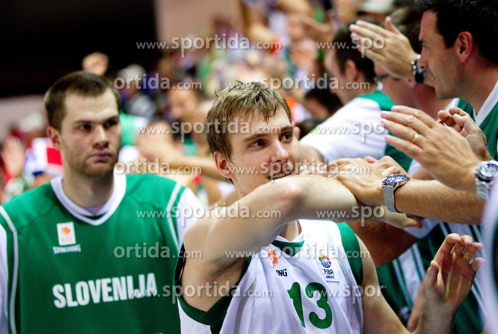 Zoran Dragic of Slovenia celebrates with fans after the basketball match between National teams of Slovenia and Georgia in Group D of Preliminary Round of Eurobasket Lithuania 2011, on September 3, 2011, in Arena Svyturio, Klaipeda, Lithuania. Slovenia defeated Georgia 87-75. (Photo by Vid Ponikvar / Sportida)