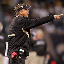 2009 October 18: New Orleans Saints head coach Sean Payton reacts from the sideline during the second quarter against the New York Giants at the Louisiana Superdome in New Orleans, Louisiana.