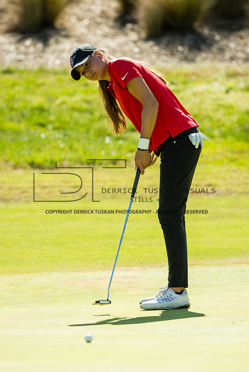 28 March 2018: Mila Chaves attempts a birdie putt on the fourteenth green during the final round of match play against UCLA at it's annual March Mayhem Tournament at the Farms Golf Club in Rancho Santa Fe, California.<br /> More game action at sdsuaztecphotos.com