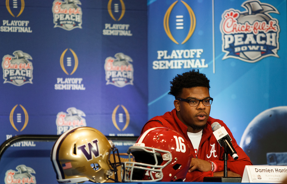 The Alabama Crimson Tide hold press conferences at the Hyatt Regency on December 28, 2016 in Atlanta. The Crimson Tide face Washington in the 2016 Chick-fil-A Peach Bowl Playoff Semifinal on New Year's Eve, with the winner advancing to the National Championship. (Jason Parkhurst / Abell Images for the Chick-fil-A Peach Bowl)