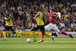 Watford's LLoyd Doyley and Nottingham Forest's Jamie Mackie  - Photo mandatory by-line: Nigel Pitts-Drake/JMP - Tel: Mobile: 07966 386802 25/08/2013 - SPORT - FOOTBALL -Vicarage Road Stadium - Watford -  Watford v Nottingham Forest - Sky Bet Championship