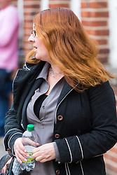 Michelle Marie Vanbuskirk, 43, a US national charged with being drunk on a United Airlines Flight from Heathrow to Washington DC, causing the flight to return to Heathrow, leaves Uxbridge Magistrates court after pleading not guilty, with her case being referred to the Crown Court.  Uxbridge, Middlesex, October 24 2018.