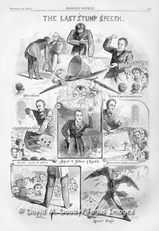 """The Last Stump Speech""  pre Civil war election politics. Humour and satire about the antics of politicians in one of the most pivitol elections in America's history (the year Lincoln was elcted President).  Illustration from Harper's Weekly November 10, 1860."