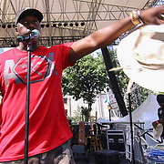Kenneth Briscoe Director of Cultural Affairs addresses the crowd during the 27th DuPont Clifford Brown Jazz Festival Saturday, June 20, 2015, at Rodney Square in Wilmington, Delaware.