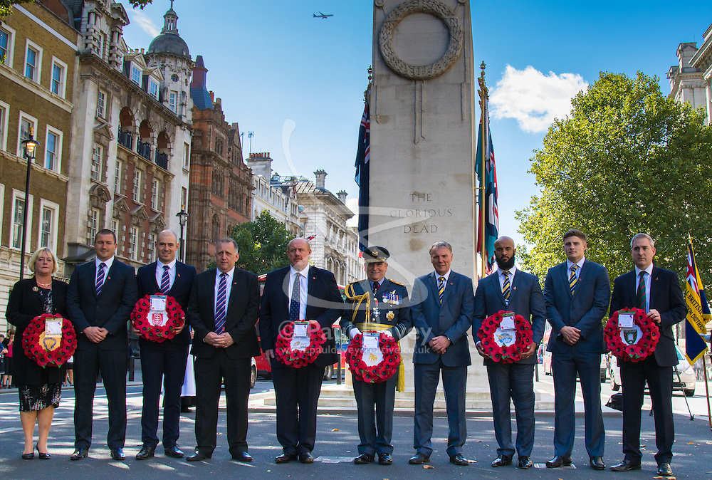 Whitehall, London, August 28th 2015.  Six wreaths are laid at the Cenotaph by representatives from the Armed Forces, the RFL, the Parliamentary Rugby League Group and Ladbrokes Challenge Cup finalists Hull Kingston Rovers and Leeds Rhinos, ahead of Saturday's Ladbrokes Challenge Cup Final at Wembley. PICTURED: The Wreath Laying party poses for a picture prior to the commencement of the ceremony.