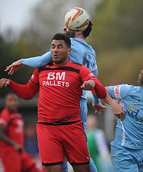 RENE HOWE  KETTERING TOWN BATTLES WITH SLOUGHS ALAN AINNS, Kettering Town v Slough Town, Evostick South Premier League Latimer Park, Saturday 21st October 2017 Score 0-0 Att 824.
