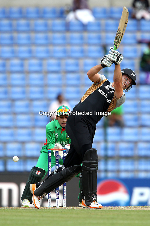 James Franklin gets a thick inside edge but gets away with it as the ball misses the stumps during the ICC World Twenty20 Pool match between New Zealand and Bangladesh held at the  Pallekele Stadium in Kandy, Sri Lanka on the 21st September 2012<br /> <br /> Photo byRon Gaunt/SPORTZPICS/PHOTOSPORT