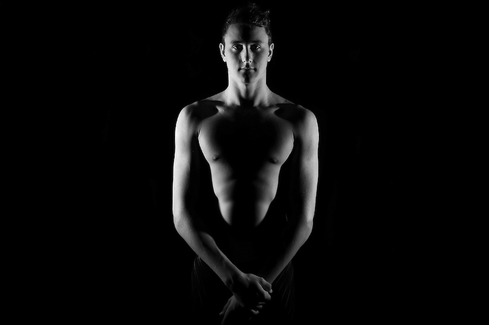 BRISBANE, AUSTRALIA - APRIL 10:  (EDITORS NOTE: Image has been converted to black and white.) Australian swimmer Cameron McEvoy poses during a portrait session at Sleeman Sports Complex on April 10, 2012 in Brisbane, Australia.  (Photo by Matt Roberts/Getty Images)