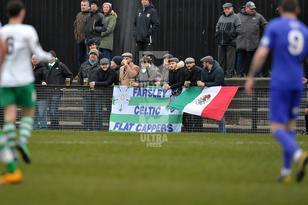 TELFORD COPYRIGHT MIKE SHERIDAN Farsley fans  during the Vanarama Conference North fixture between AFC Telford United and Farsley Celtic at The Citadel on Saturday, January 25, 2020.<br /> <br /> Picture credit: Mike Sheridan/Ultrapress<br /> <br /> MS201920-042