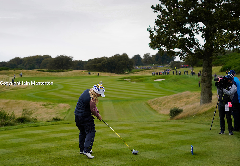 Auchterarder, Scotland, UK. 14 September 2019. Saturday morning Foresomes matches  at 2019 Solheim Cup on Centenary Course at Gleneagles. Pictured; Bronte Law of Team Europe drives on the 3rd hole. Iain Masterton/Alamy Live News