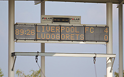 LIVERPOOL, ENGLAND - Tuesday, September 16, 2014: The scoreboard records Liverpool's 4-0 victory over PFC Ludogorets Razgrad during the UEFA Youth League Group B match at Langtree Park. (Pic by David Rawcliffe/Propaganda)