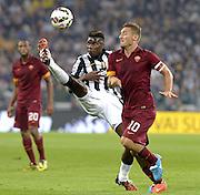 © Filippo Alfero<br /> Juventus-Roma, Serie A 2014/2015<br /> Torino, 05/10/2014<br /> sport calcio<br /> Nella foto: Paul Pogba e Francesco Totti
