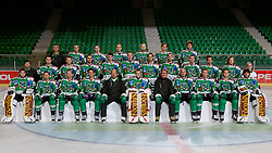 Team HDD Tilia Olimpija ice-hockey team for season 2011/2012 at official photo shooting in Hala Tivoli, Ljubljana; First line (from Left): Matic Boh, Matej Hocevar, Ales Music, Ziga Pance, Assistant coach Andrej Hebar, Jean-Philippe Lamoureux, Head coach Hannu Järvenpää, Petr Sachl, Damjan Dervaric, John Hughes, Matija Pintaric; Second line: PR Tomaz Langerholz, Igor Cvetek Jamie Fraser, Scott Hotham, Miha Verlic, Bostjan Groznik, Brad Cole, Justin Taylor, Anze Ropret, Bostjan Golicic, Tomi Mustonen, xx xx; Third line: Equipment Manager Milan Dragan, Eric Pance, Ken Ograjensek, domen Vedlin, Andrej Hebar, David Sefic, Sergei Smirnov; on September 6, 2011, in Ljubljana, Slovenia. (Photo by Matic Klansek Velej / Sportida)