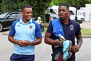 AFC Wimbledon defender Kyron Stabana (33) and AFC Wimbledon attacker Michael Folivi (17) arriving during the Pre-Season Friendly match between AFC Wimbledon and Bristol City at the Cherry Red Records Stadium, Kingston, England on 9 July 2019.