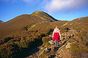 Woman walking up eroded footpath Glen Clova, Cairngorm Mountains, Angus, Scotland