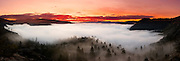 Donner Lake foggy sunrise panoramic photograph.