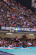 A big crowd watches on during the 2019 Adrian Flux British FIM Speedway Grand Prix at the Principality Stadium, Cardiff, Wales on 21 September 2019.